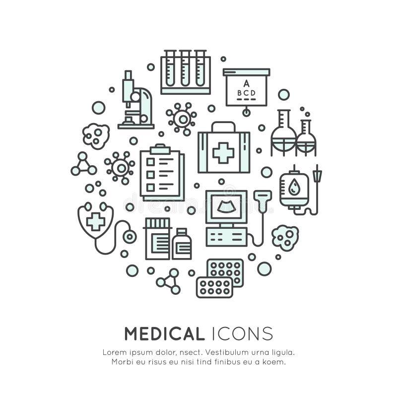 Medizinische und Forschung im Gesundheitswesens-Einzelteile stock abbildung