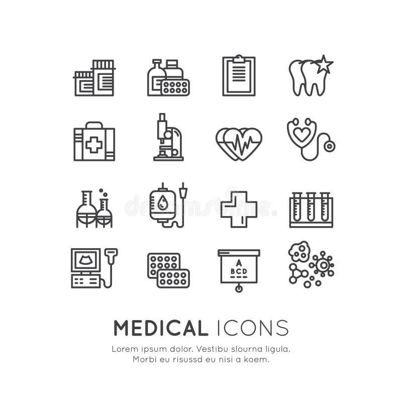Medizinische und Forschung im Gesundheitswesens-Einzelteile, Versicherung, MRI, Scan, Überprüfungs-Formen, Blut-Prüfung stock abbildung