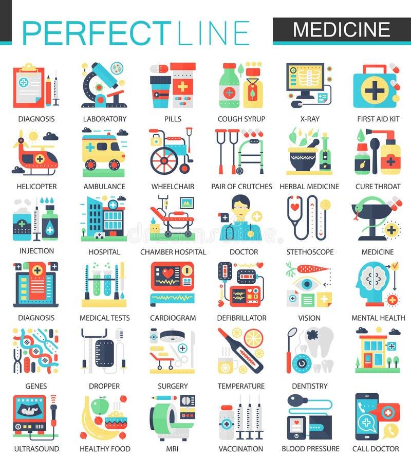 Medizinische und Ikonen-Konzeptsymbole des Gesundheitswesenvektors komplexe flache für infographic Design des Netzes lizenzfreie abbildung