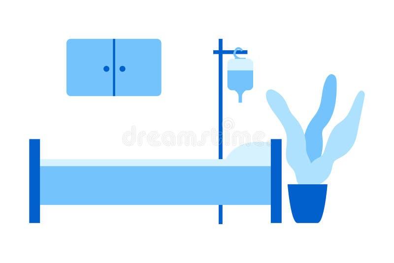 Medizinische Vektorillustration Gemütliches Krankenhauszimmer Krankenhausbett, Tropfenzähler, Schrank, Blume Flache Art stock abbildung