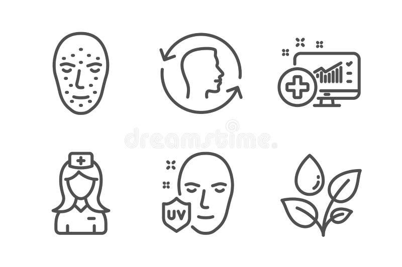 Medizinischer Analytics, Gesichtsidentifikation und UVschutzikonensatz Vektor lizenzfreie stockfotografie