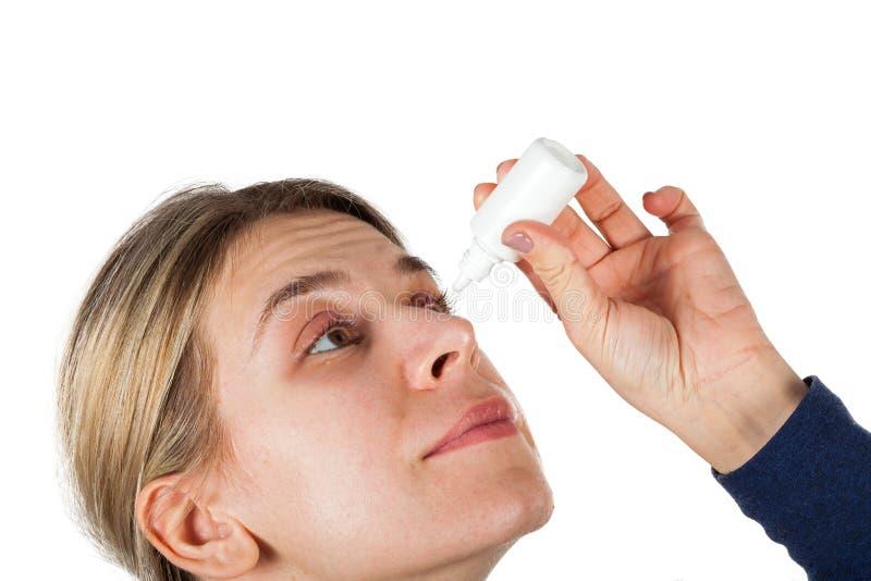Medizinischer Augentropfen für Schweinestallinfektion stockbilder