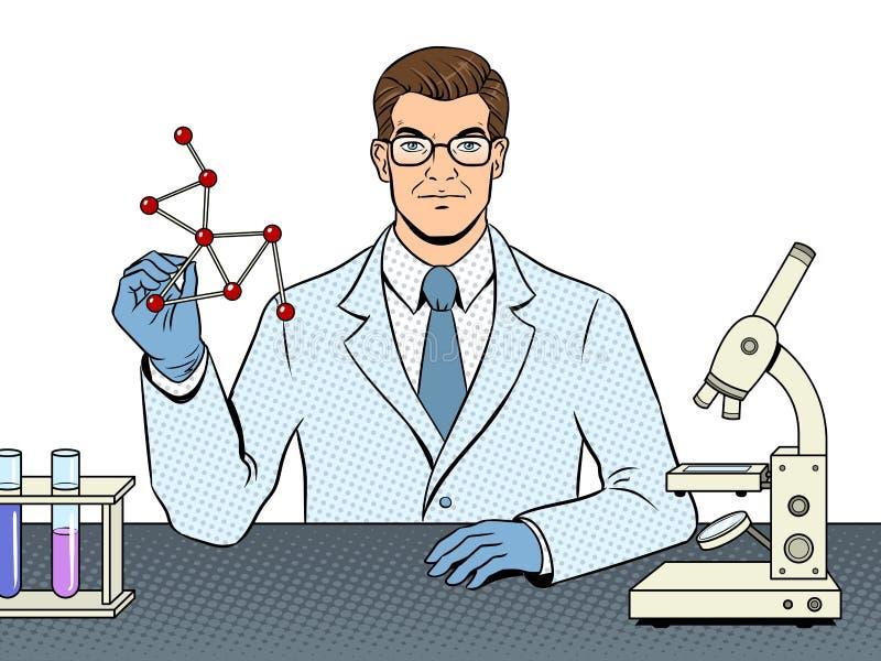 Medizinischer Chemikerwissenschaftler-Pop-Arten-Vektor lizenzfreie abbildung