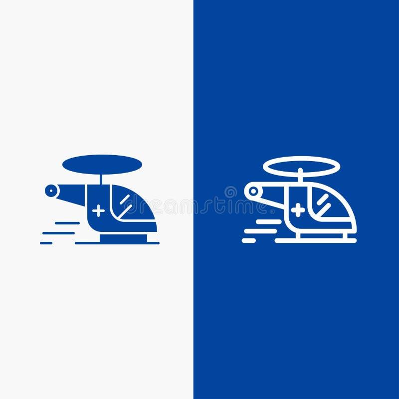 Medizinischer, des Krankenwagens, der Luftverkehrslinie und des Glyph der festen Ikone der blauen Fahne Ikone Linie und Glyph fes lizenzfreie abbildung