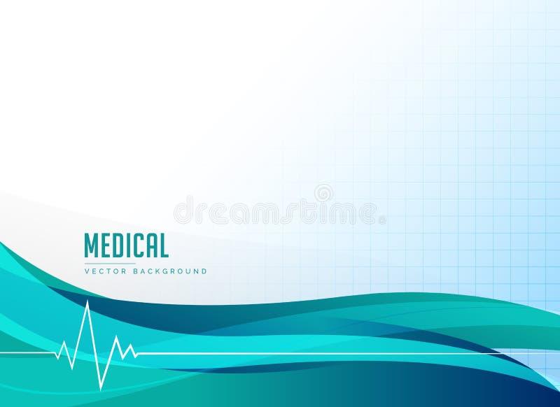 medizinischer Gesundheitswesen- oder Apothekenhintergrund mit Herzschlag und wa lizenzfreie abbildung