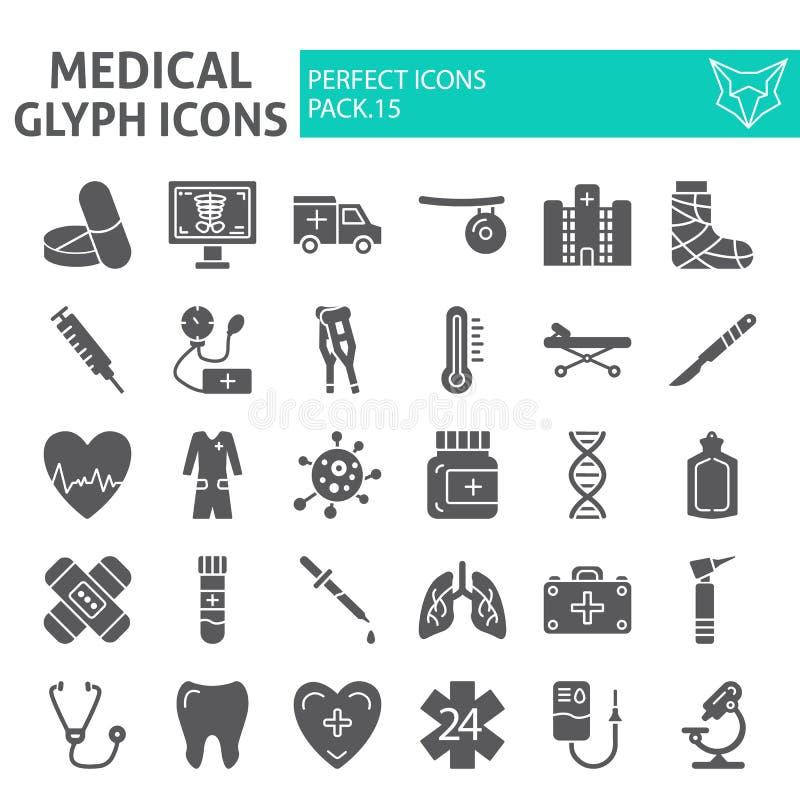 Medizinischer Glyphikonensatz, Krankenhaussymbole Sammlung, Vektorskizzen, Logoillustrationen, Medizinzeichen fest vektor abbildung
