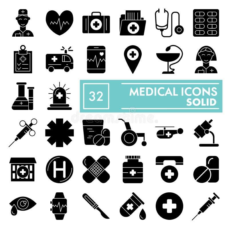 Medizinischer Glyphikonensatz, Medizinsymbole Sammlung, Vektorskizzen, Logoillustrationen, Apothekenzeichenkörper stock abbildung