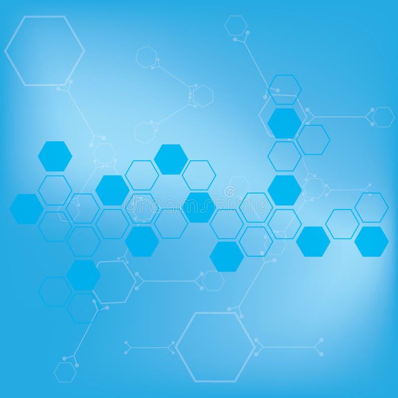 Medizinischer Hintergrund der abstrakten Moleküle lizenzfreie abbildung