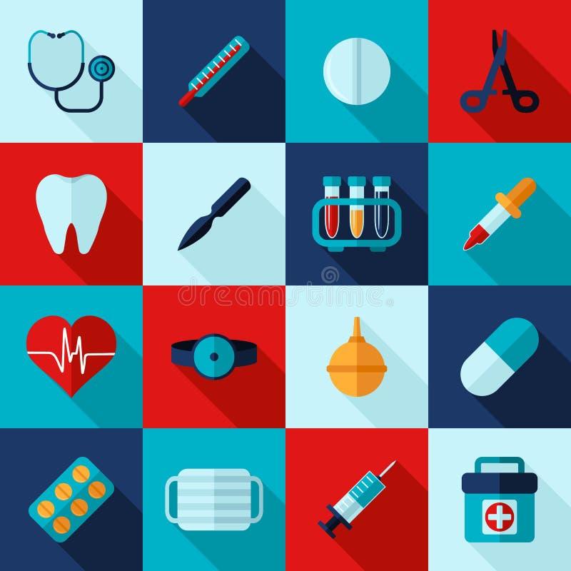 Medizinischer Ikonenebenensatz stock abbildung
