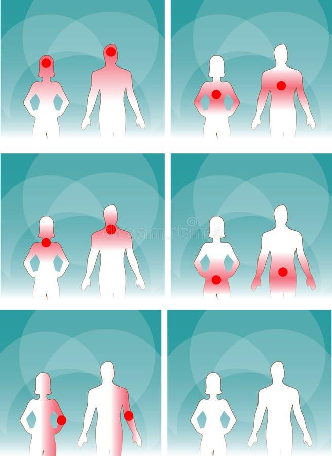 Medizinischer Mann u. Frau, Schmerz des menschlichen Körpers stock abbildung