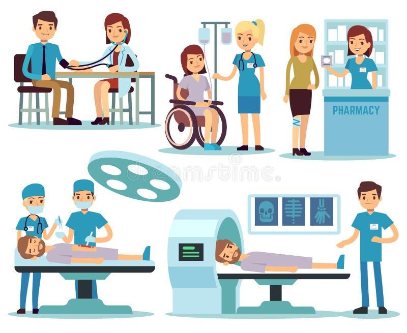 Medizinischer Patient und Doktoren im medizinischen Tätigkeitsvektorsatz stock abbildung