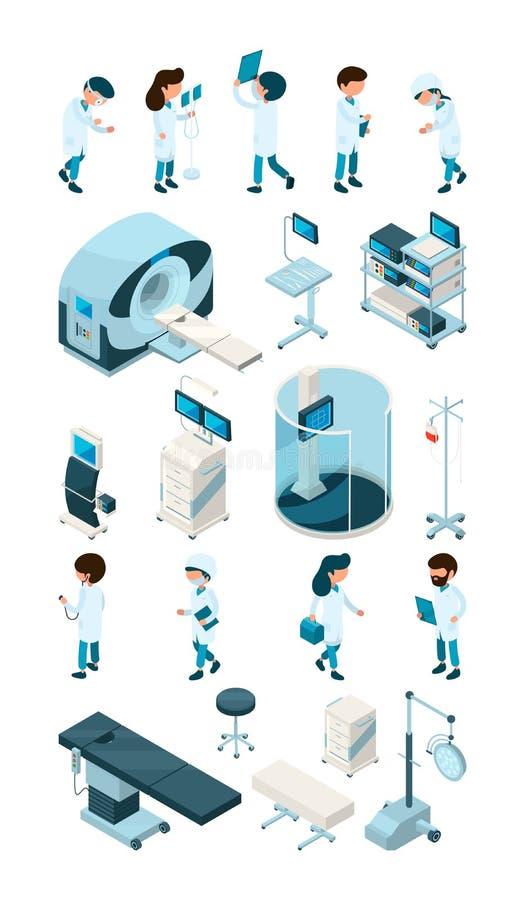 Medizinischer Personal Ausrüstung für pädiatrischen Chirurgsanitäter des Krankenhauses und medizinischer persönlicher Doktorkrank stock abbildung
