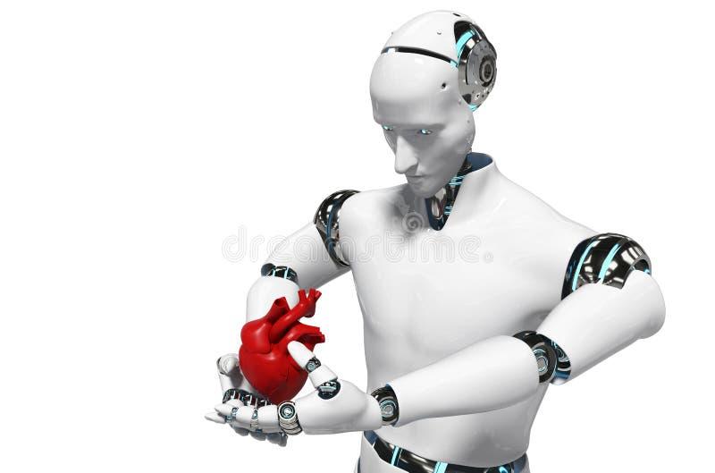 Medizinischer Roboterkonzeptroboter für medizinische weiße Wiedergabe des Hintergrundes 3D des Gebrauches - Illustration stock abbildung
