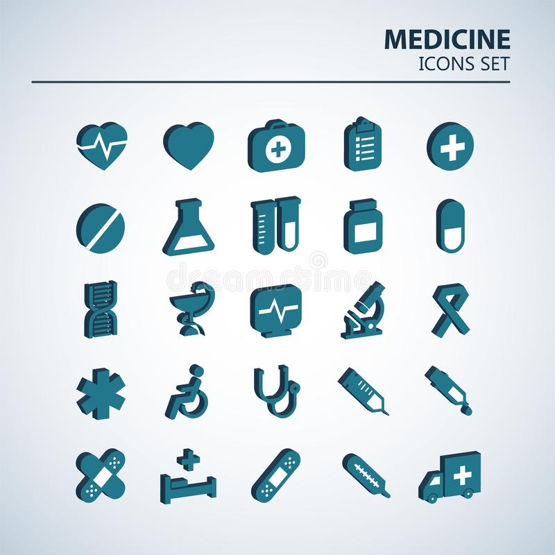 Medizinischer Satz der Ikone 3D 25 volumetrische Krankenhausvektorzeichen Medizindesign Netzkrankenwagen infographics Ikonen vektor abbildung