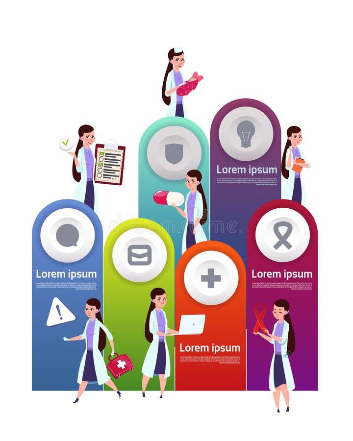 Medizinischer Schablone Infographic-Element-Hintergrund mit Team Of Female Doctors lizenzfreie abbildung