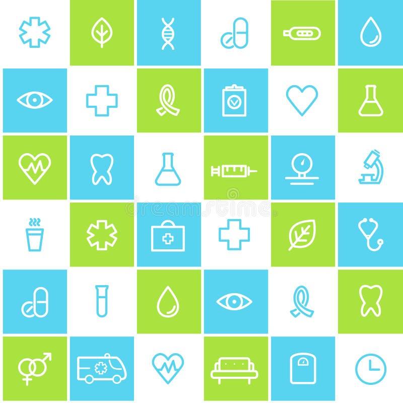 Medizinischer und Gesundheitswesen-nahtloser gezeichneter Ikonen-Hintergrund vektor abbildung