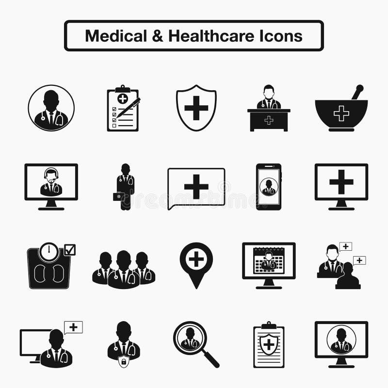 Medizinischer und Gesundheitswesenikonensatz lizenzfreie abbildung