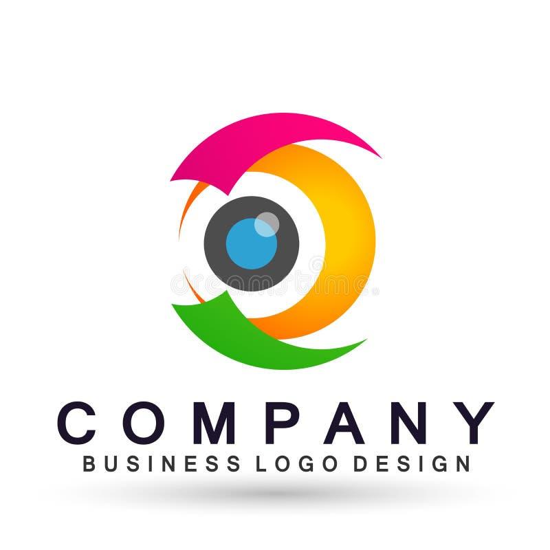 Medizinisches Augenpflegekugelfamiliengesundheitskonzeptlogoikonen-Elementzeichen auf weißem Hintergrund lizenzfreie abbildung