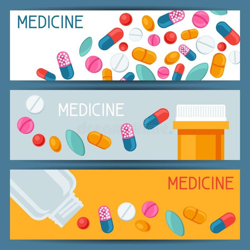 Medizinisches Fahnendesign mit Pillen und Kapseln lizenzfreie abbildung