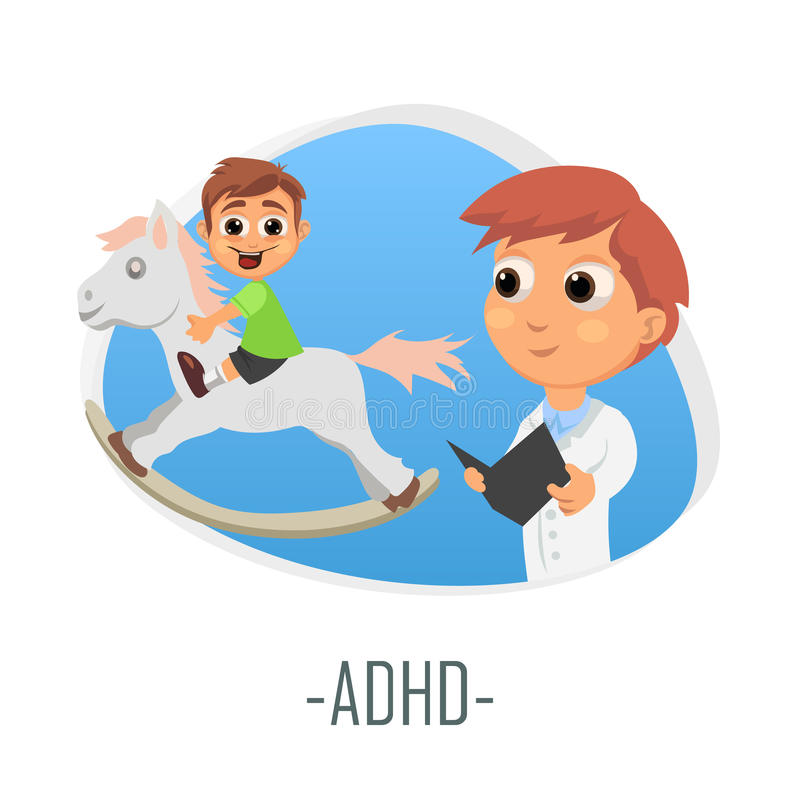 Medizinisches Konzept ADHD Auch im corel abgehobenen Betrag lizenzfreie abbildung