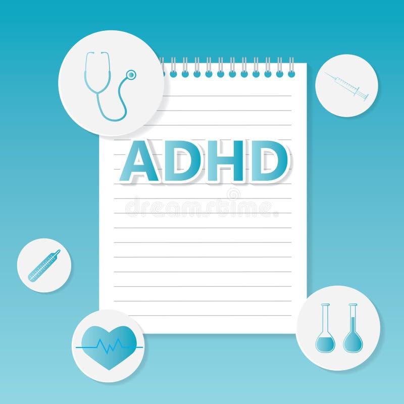 Medizinisches Konzept der ADHD-Aufmerksamkeits-Defizit-Hyperaktivitäts-Störung stock abbildung