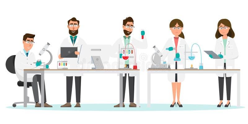 MEDIZINISCHES Konzept Wissenschaftler Mann und Frauenforschung in einem Laborlabor vektor abbildung