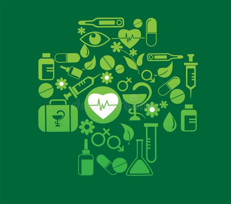 Medizinisches Kreuz mit Gesundheitsikonenset lizenzfreie abbildung