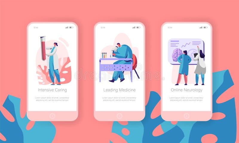 Medizinisches Laborbewegliche App-Seite an Bord des Schirm-Satzes Intensives Interessieren, führende Medizin, on-line-Neurologie  lizenzfreie abbildung