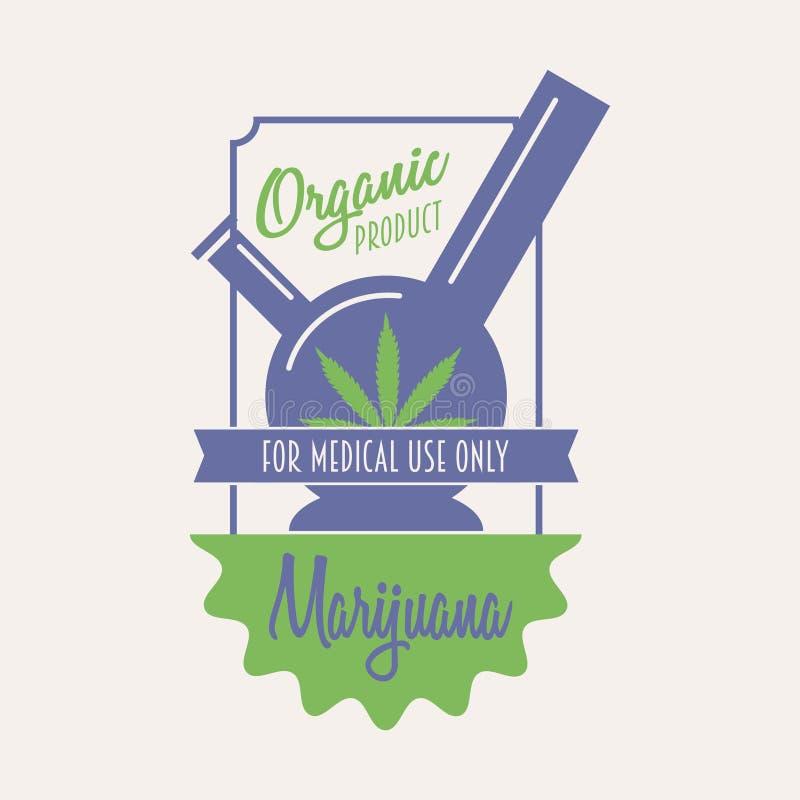 Medizinisches Marihuanalogokonzept Vector Hanfausweis, Aufkleber oder Logoschablone stock abbildung