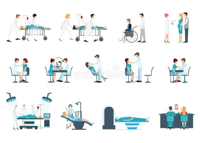 Medizinisches Personal und Patienten-verschiedene Situationen eingestellt stock abbildung