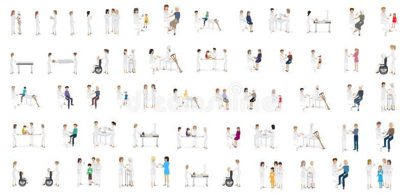 Medizinisches Personal und Patienten-verschiedene Situationen - lokalisiert auf weißem Hintergrund lizenzfreie abbildung