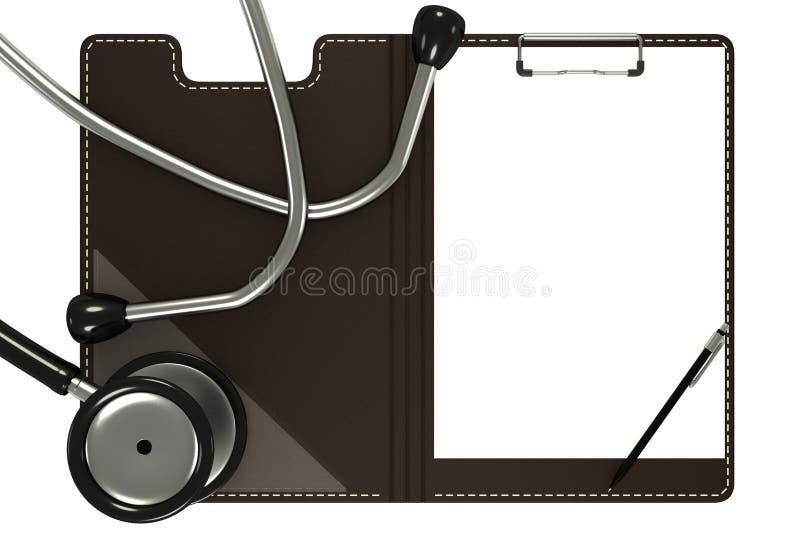 Medizinisches Stethoskop und weiße Form stockbild