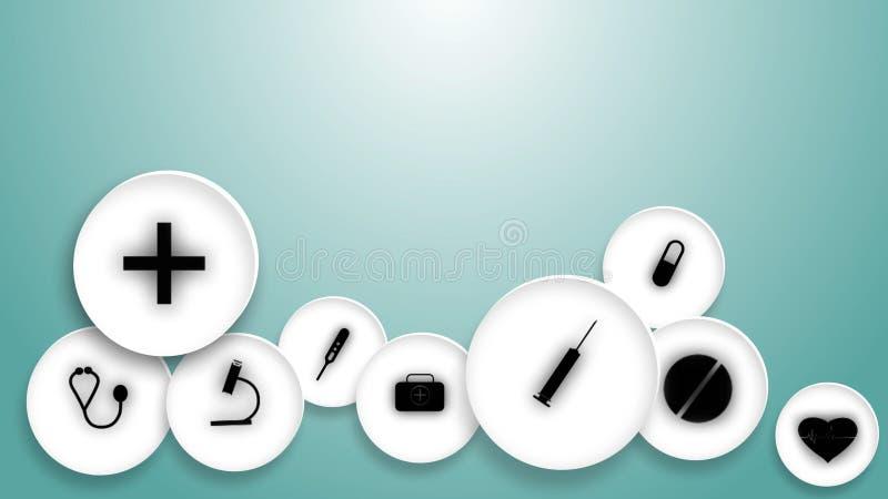 Medizinisches Symbol in weißem Kreis auf blauem Hintergrund stockfoto