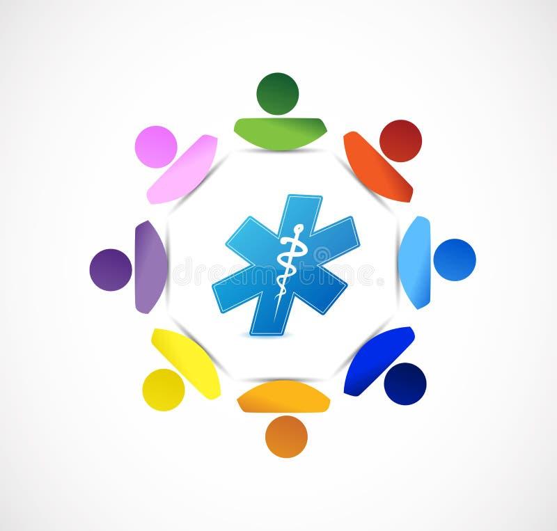 medizinisches Symbolleute-Verschiedenartigkeitskonzept stock abbildung