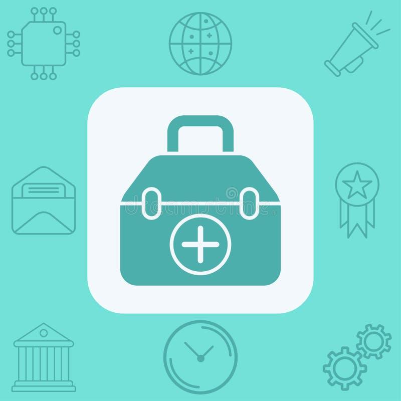 Medizinisches Taschenikonen-Zeichensymbol stock abbildung