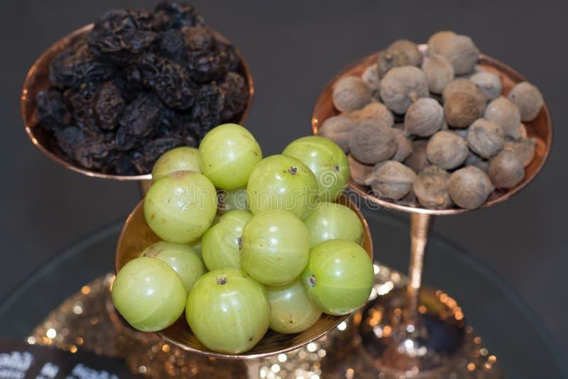 Medizinisches Triphala, Kombination von ayurvedic Früchten lizenzfreie stockfotografie