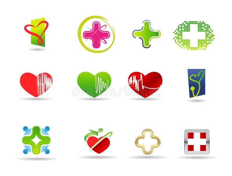Medizinisches und Gesundheitsikonenset lizenzfreie abbildung