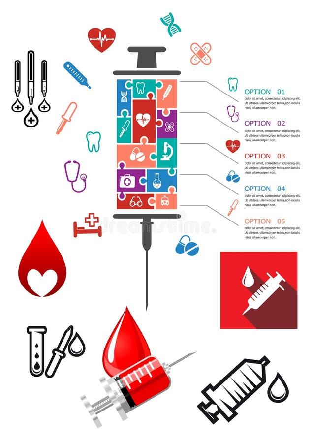 Medizinisches und Krankenhaus infographics mit Ikonen lizenzfreie abbildung