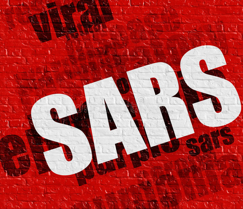 Medizinkonzept: SARS auf roter Wand vektor abbildung