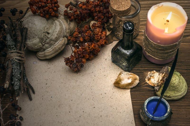 Medizinmann shaman witchcraft Magische Tabelle Ginkgo biloba Badfelder auf dem Bambustellersegment lizenzfreie stockfotos