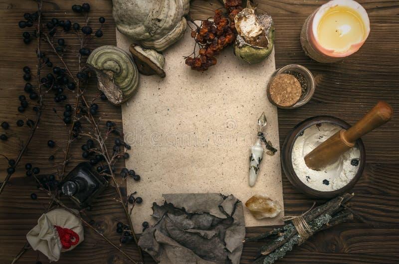 Medizinmann shaman witchcraft Magische Tabelle Ginkgo biloba Badfelder auf dem Bambustellersegment lizenzfreies stockbild