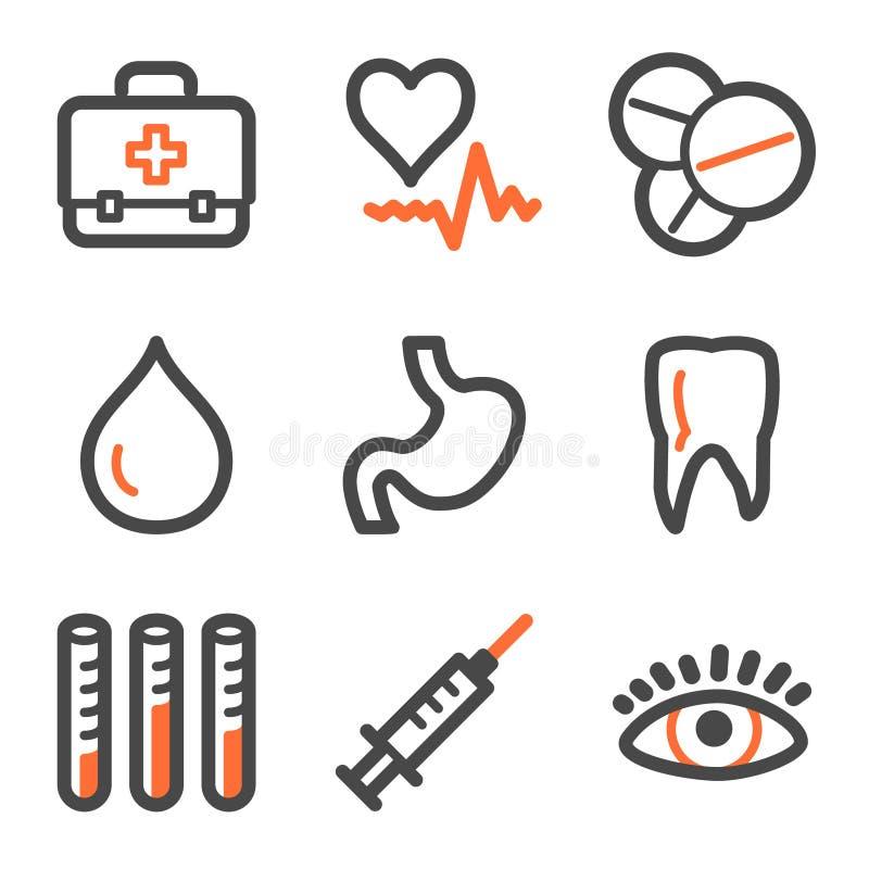 Medizinweb-Ikonen-, Orange und Graueformserien lizenzfreie abbildung