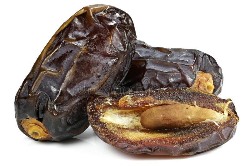 Medjool dates. Organic Medjool dates from Israel isolated on white background royalty free stock photos