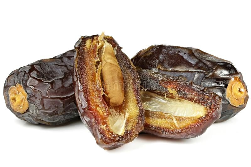 Medjool dates. Organic Medjool dates from Israel isolated on white background stock photo
