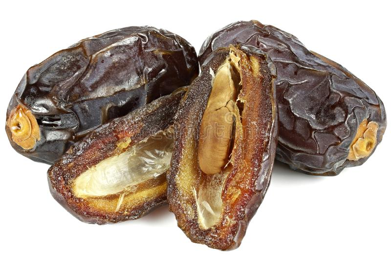 Medjool dates. Organic Medjool dates from Israel isolated on white background royalty free stock photo
