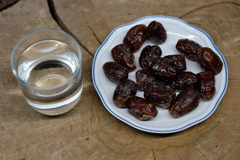 Medjool Dates on table. Medjool Dates on wooden table stock images