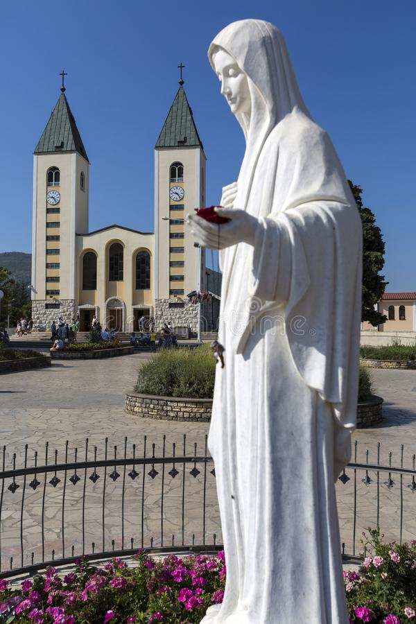 Medjugorie - The place where appear the Virgin Mary. Pillgrims goes to the mass stock photo