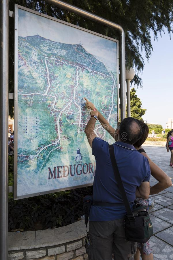 Medjugorie - The place where appear the Virgin Mary. Pillgrims goes to the mass stock image
