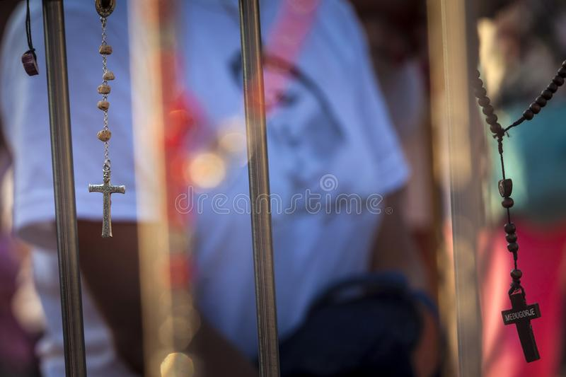 Medjugorie - The place where appear the Virgin Mary. Pillgrims goes to the mass royalty free stock image