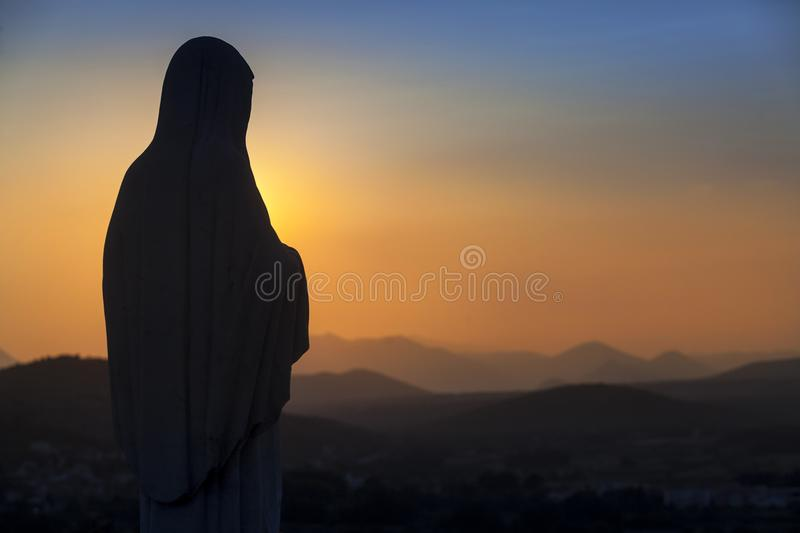 Medjugorie - The place where appear the Virgin Mary. Statue on the PODBRDO hill stock images